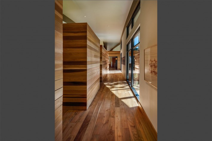 Wooden hallway in home built by Sage Architecture, Truckee CA